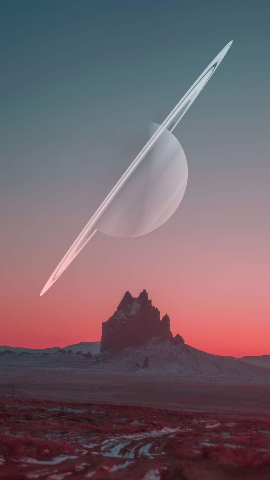 Saturn Moon iPhone Wallpaper