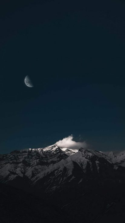 Snow Mountain and Moon iPhone Wallpaper