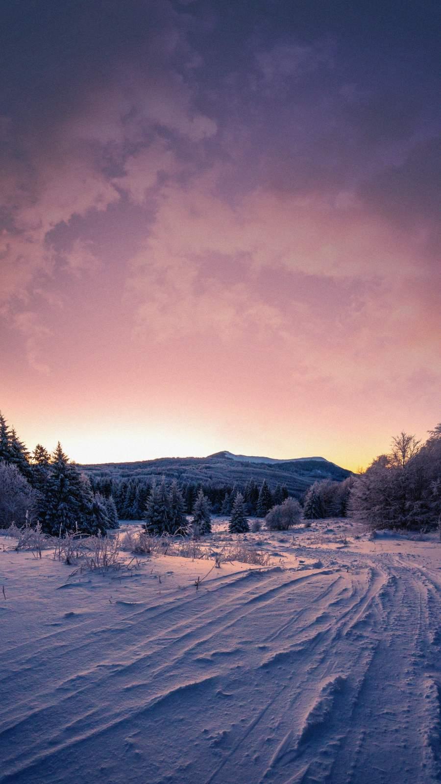 Snow Nature Sunrise iPhone Wallpaper