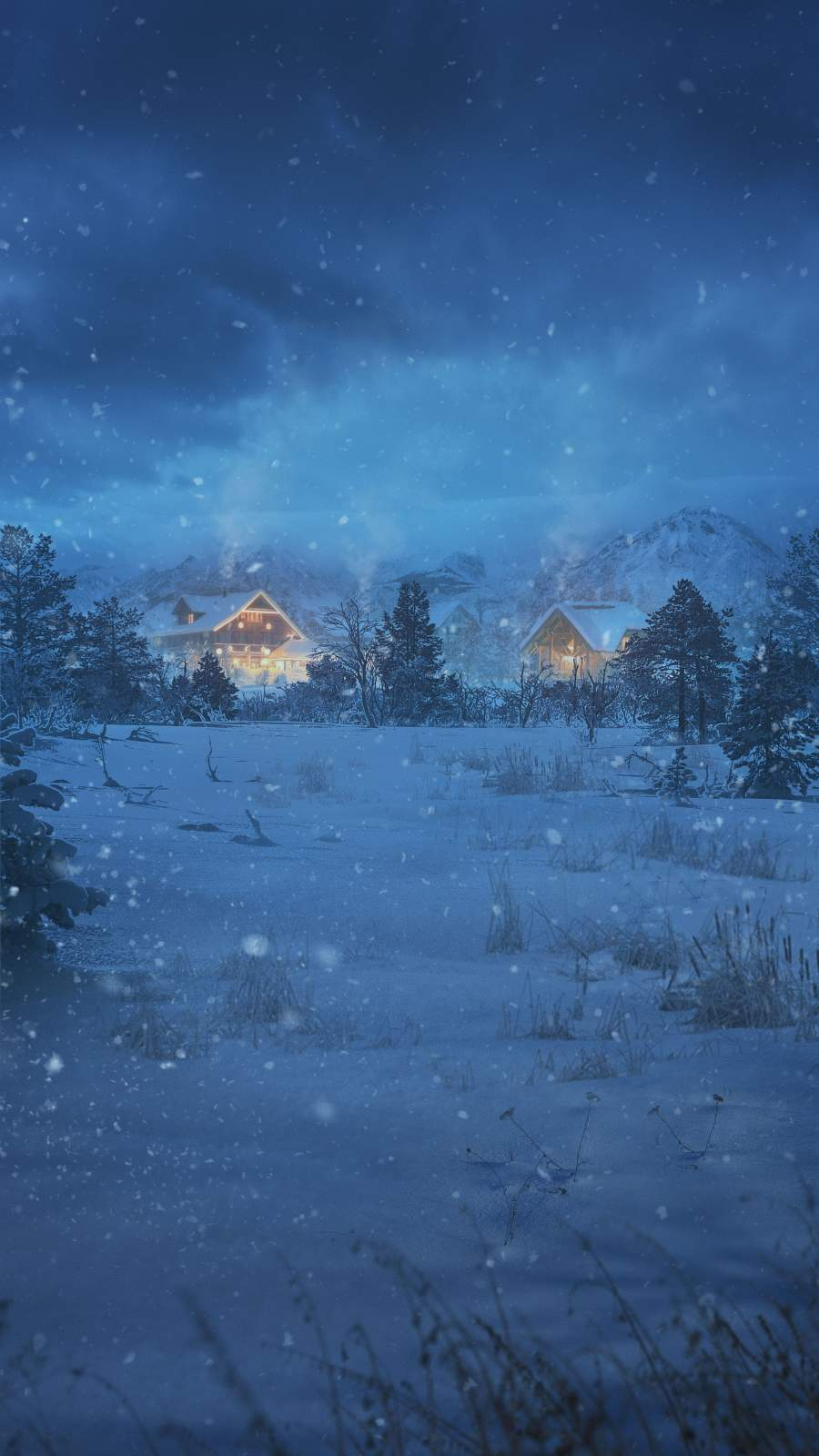 Snow Night Houses iPhone Wallpaper