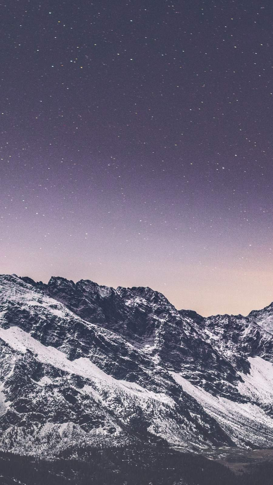 Snow covered mountains stars iPhone Wallpaper