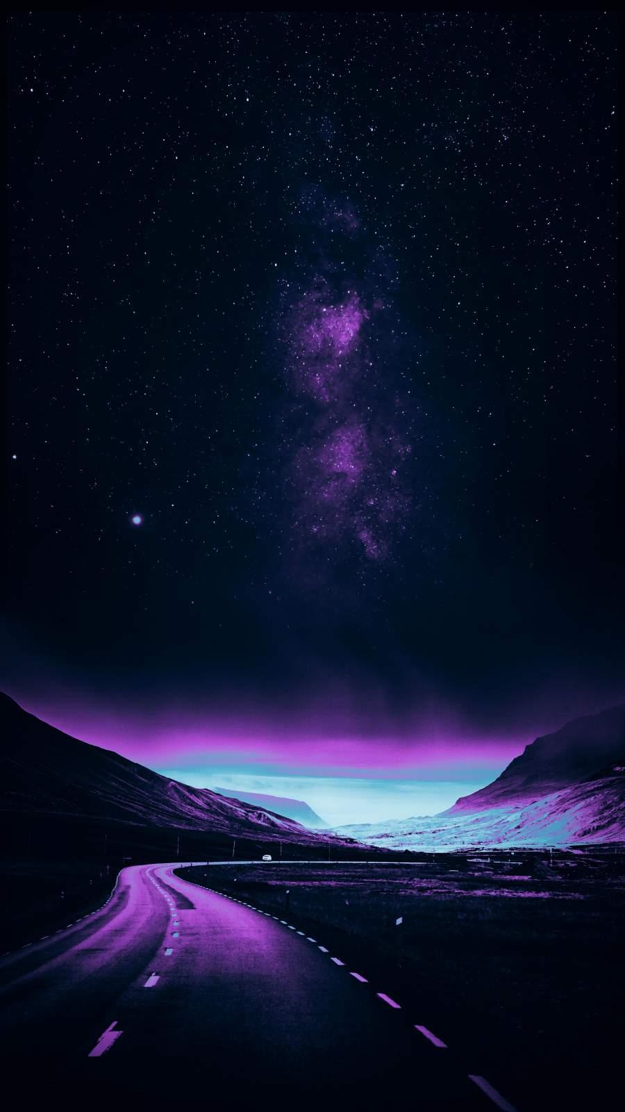 Starry Road Dark iPhone Wallpaper