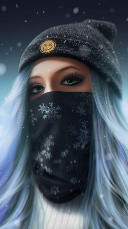 Winter Masked Girl iPhone Wallpaper