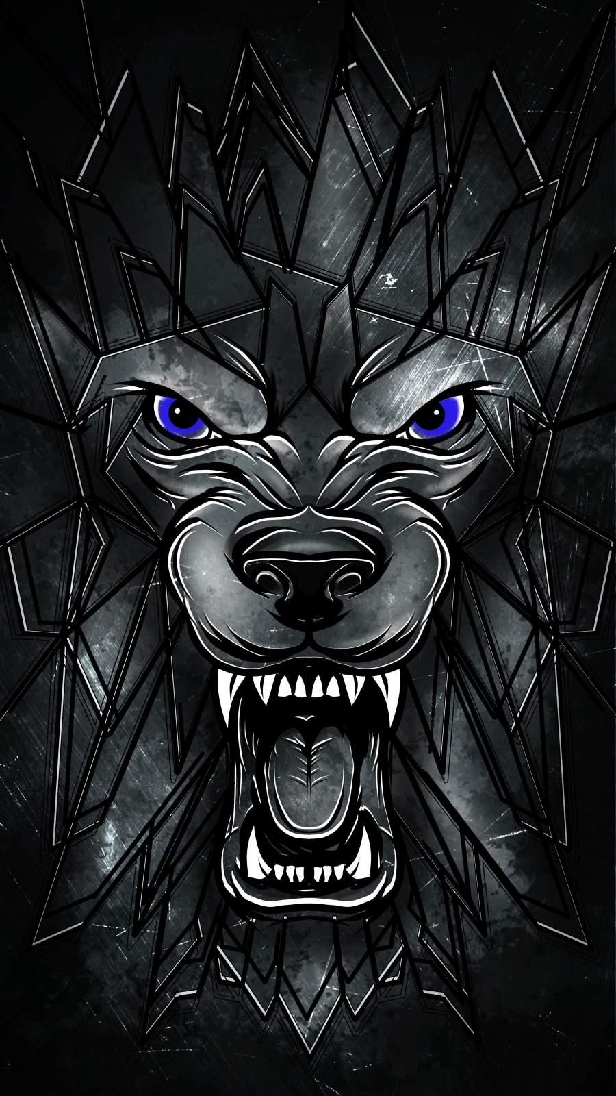 Wolf Face Art iPhone Wallpaper