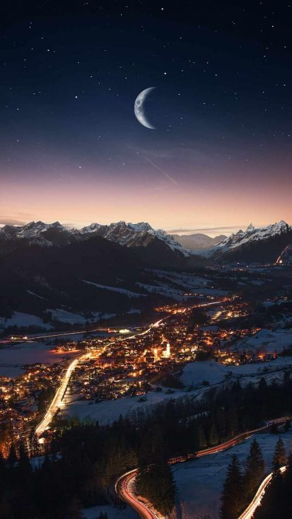 City in Mountains Night Moon
