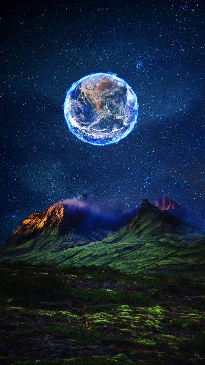 Earth Moon iPhone Wallpaper