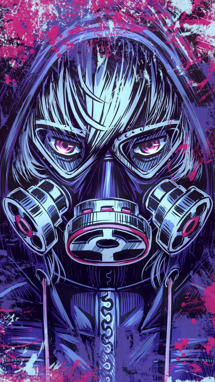Gas Mask Anime iPhone Wallpaper