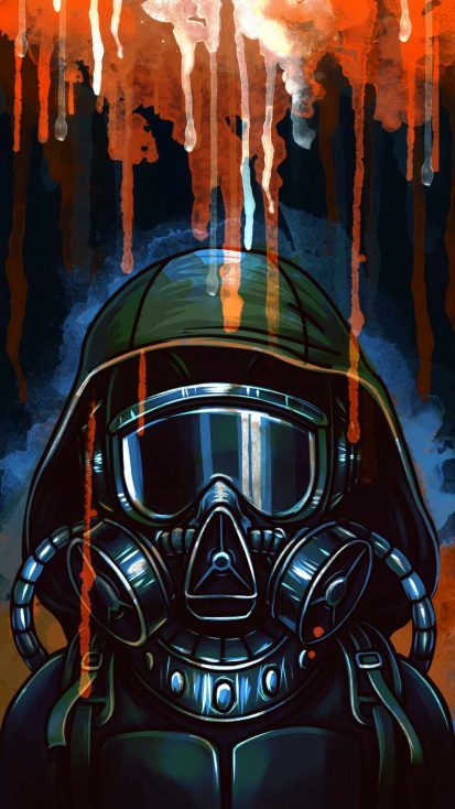 Gas Mask Art iPhone Wallpaper