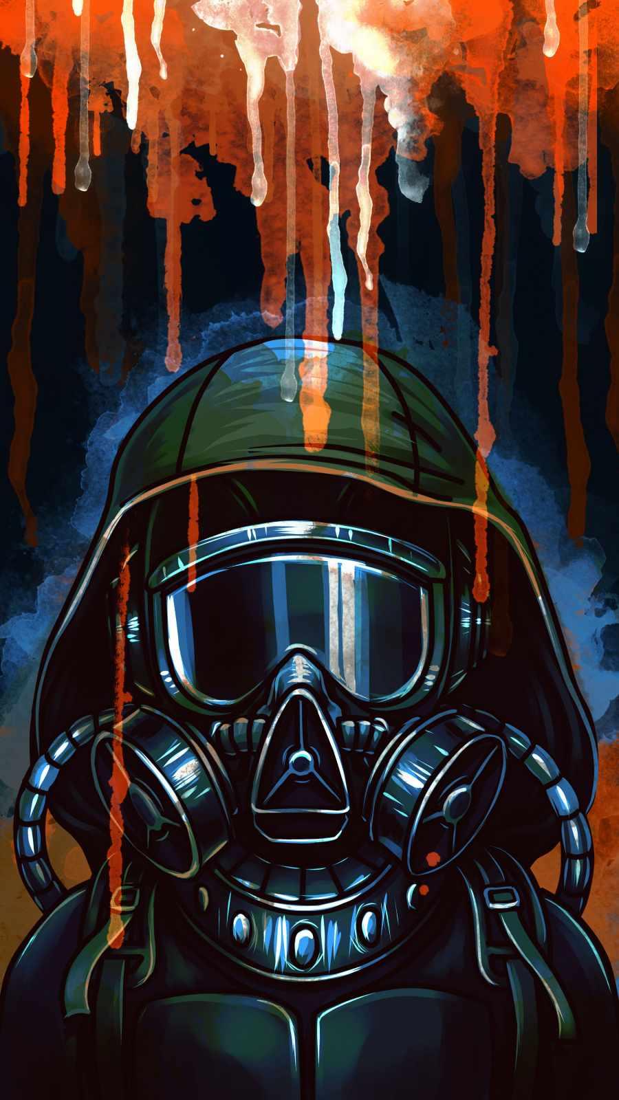 Gas Mask Art iPhone Wallpaper