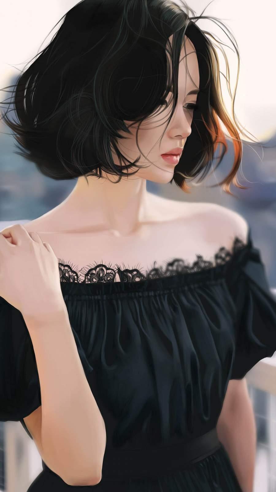 Girl in Black iPhone Wallpaper