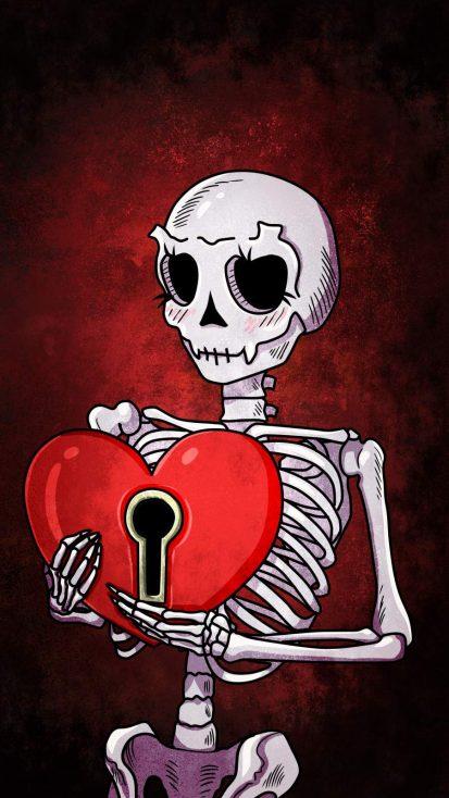 Heart Skull iPhone Wallpaper