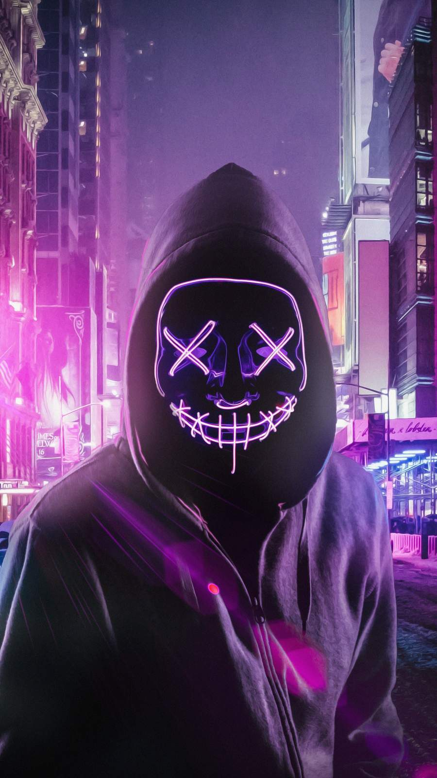 Hoodie Neon Stitched Mask Guy