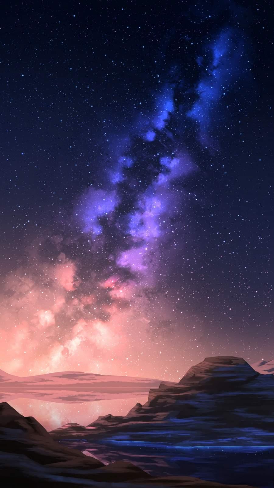 Milky Way Galaxy View in Night Scenery