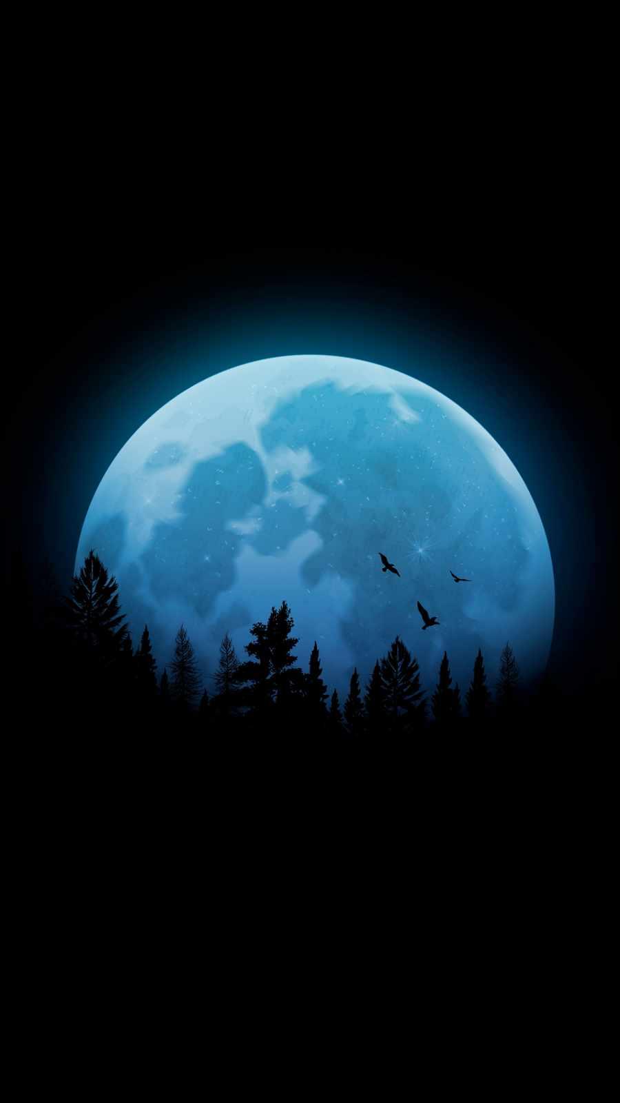 Moon in Dark iPhone Wallpaper