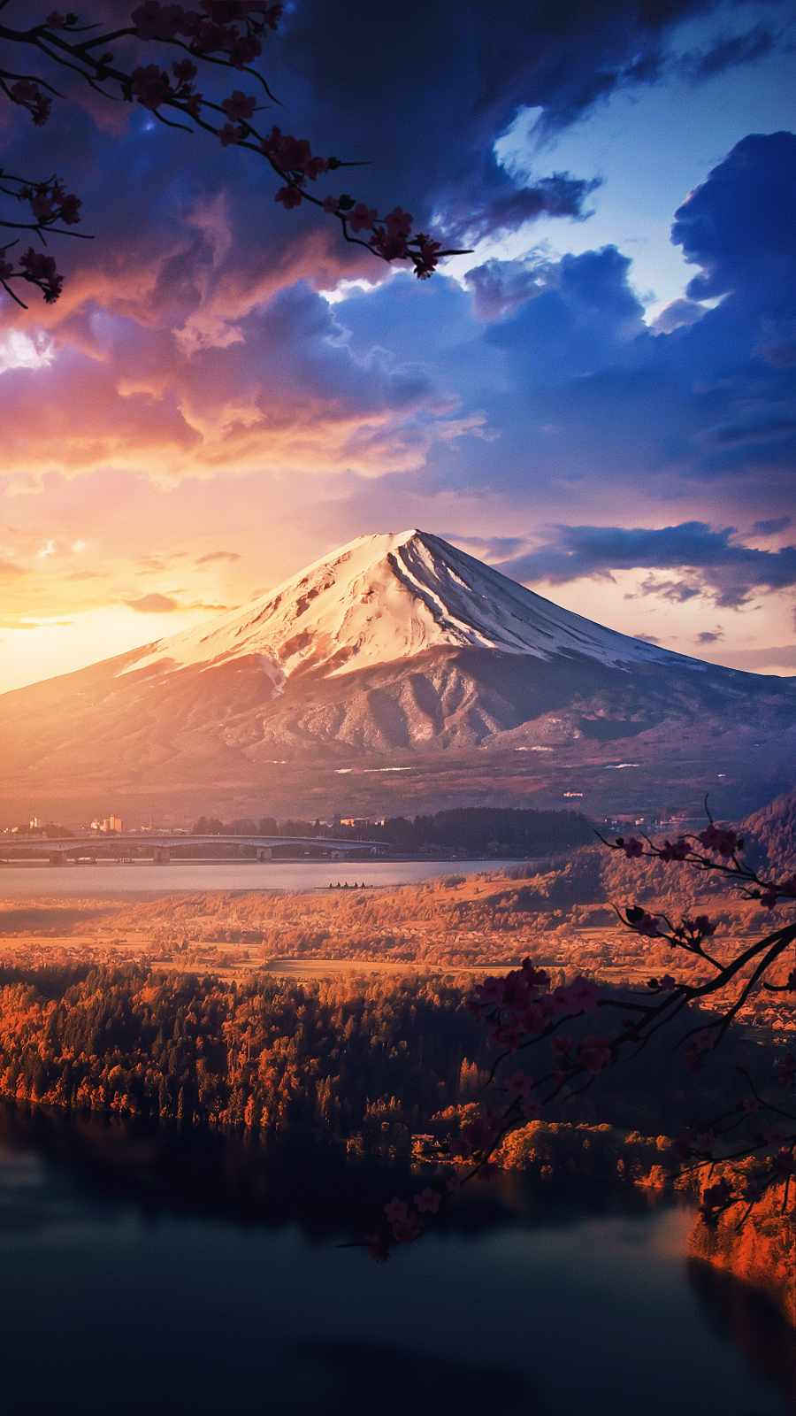 Mountain Volcano Sunset View