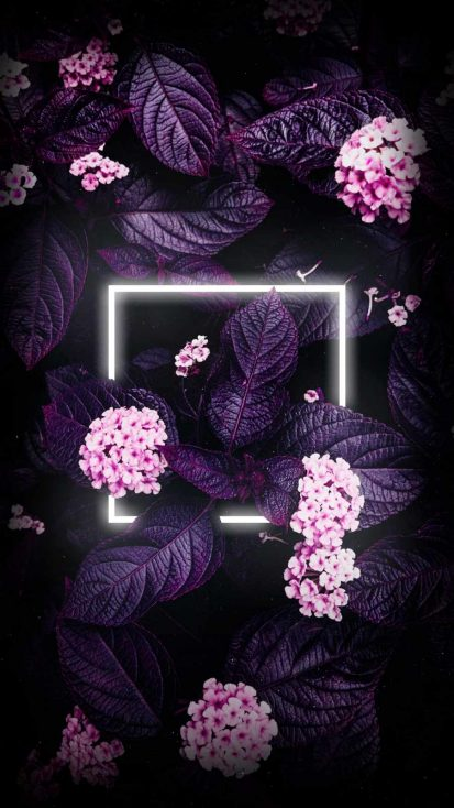 Neon Flower Plants iPhone Wallpaper