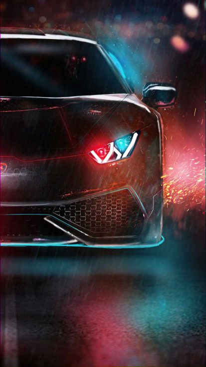 Neon Lambo iPhone Wallpaper