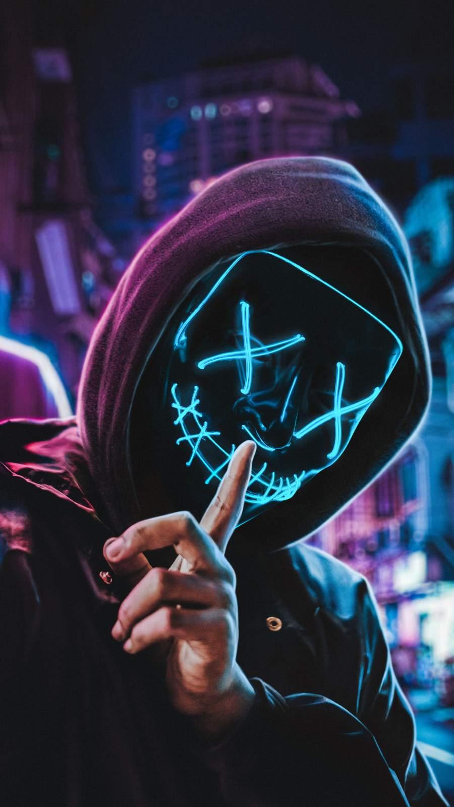 Neon Mask Hoodie Guy