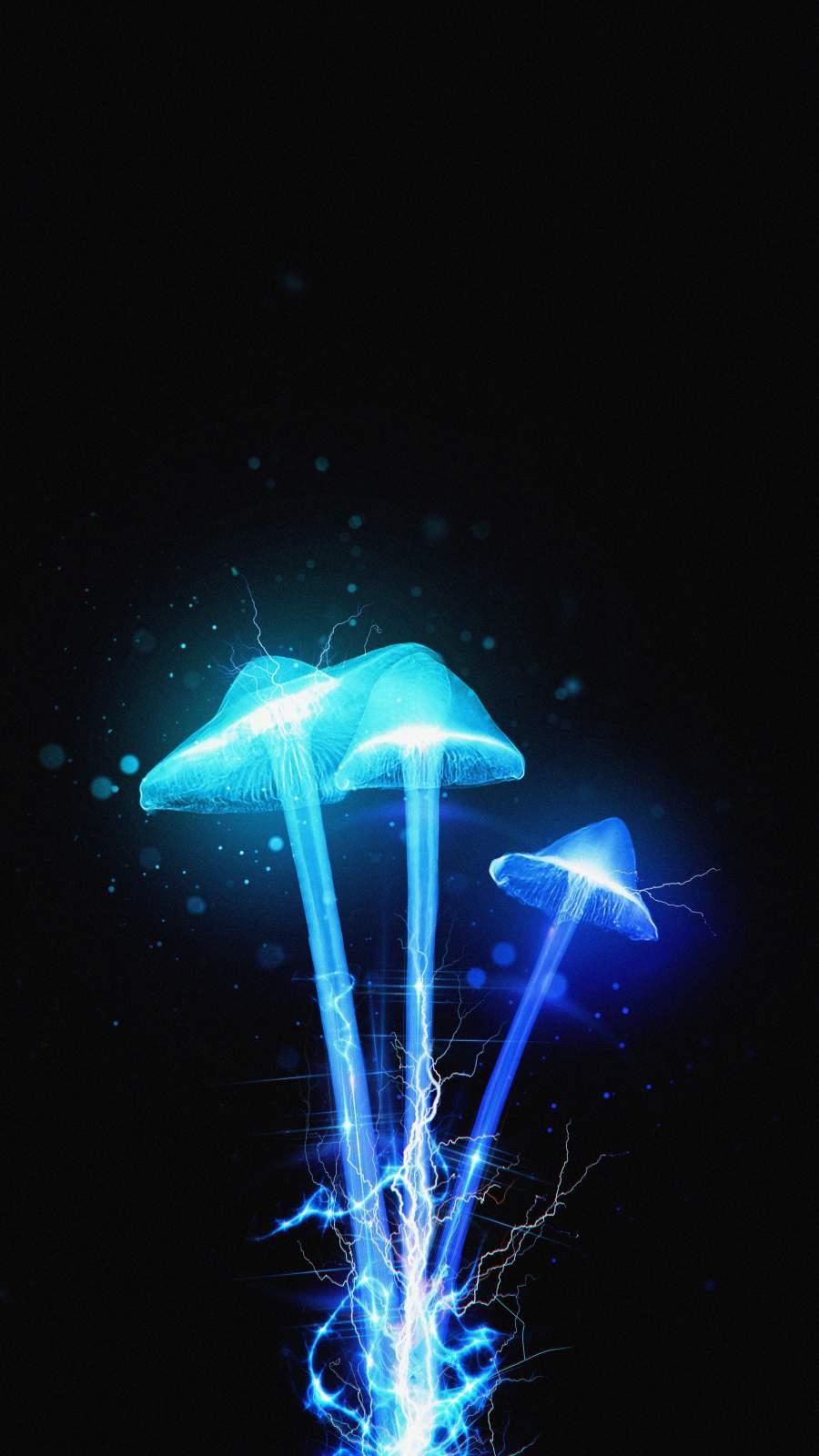 Neon Mushrooms iPhone Wallpaper