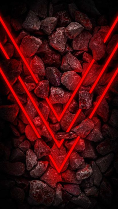 Neon Red Stones iPhone Wallpaper