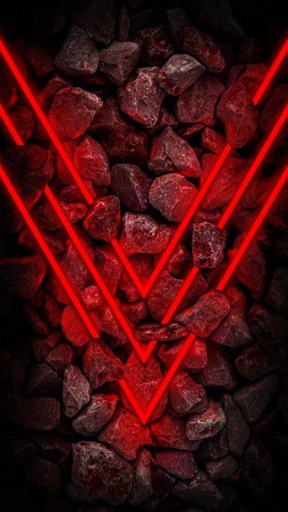 Neon Red Stones iPhone Wallpaper