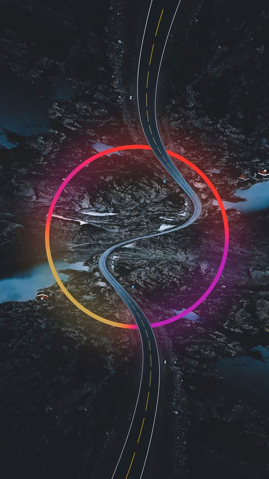 Neon Road iPhone Wallpaper