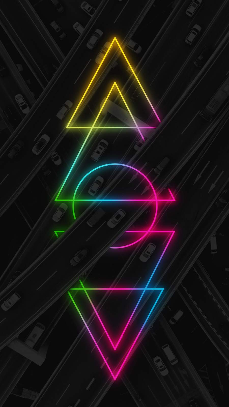 Neon Roads iPhone Wallpaper