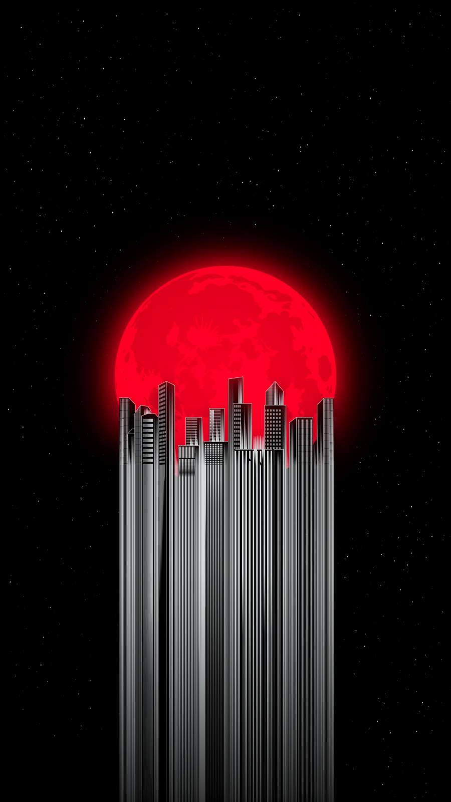 Red Moon City iPhone Wallpaper