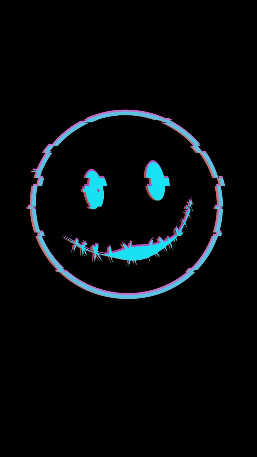 Smile Glitch iPhone Wallpaper