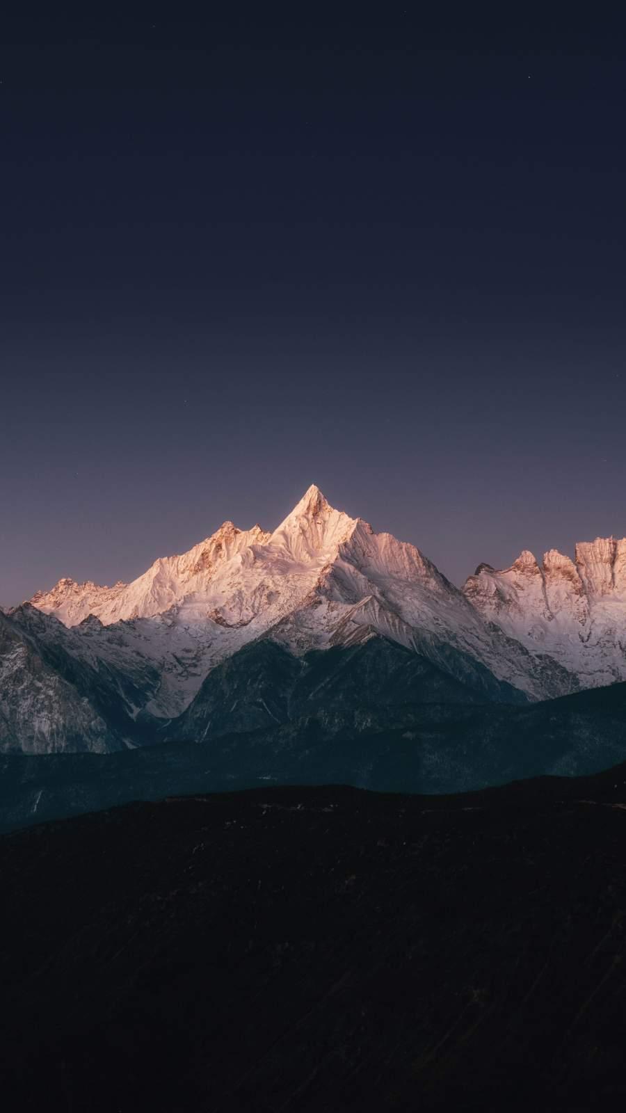 Snow Mountains Sunrise Light
