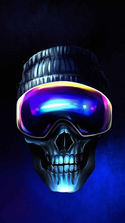 Snow Surfer Skull iPhone Wallpaper