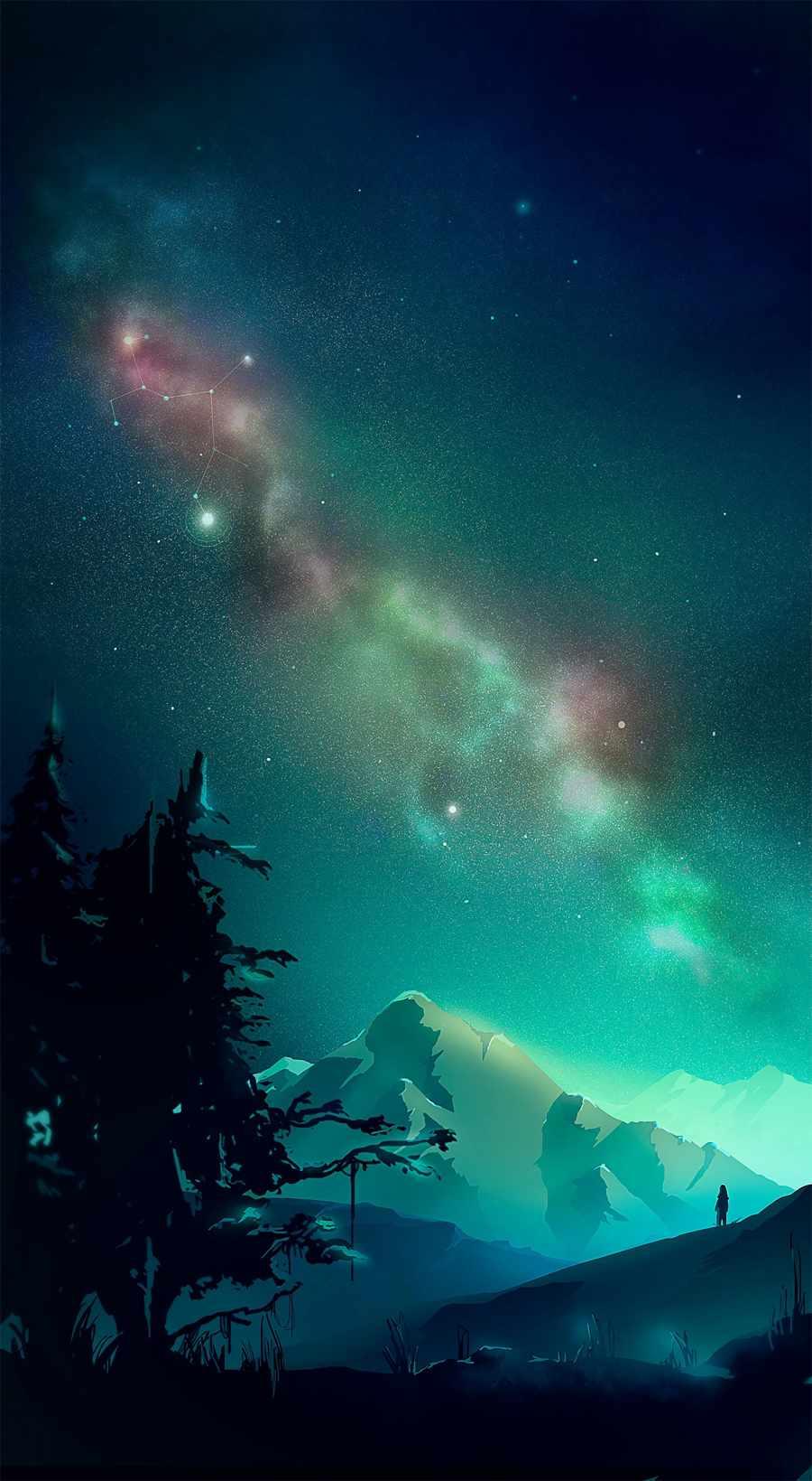 Space Watcher iPhone Wallpaper
