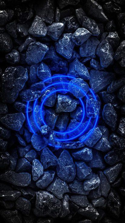 Stone Neon Circle iPhone Wallpaper