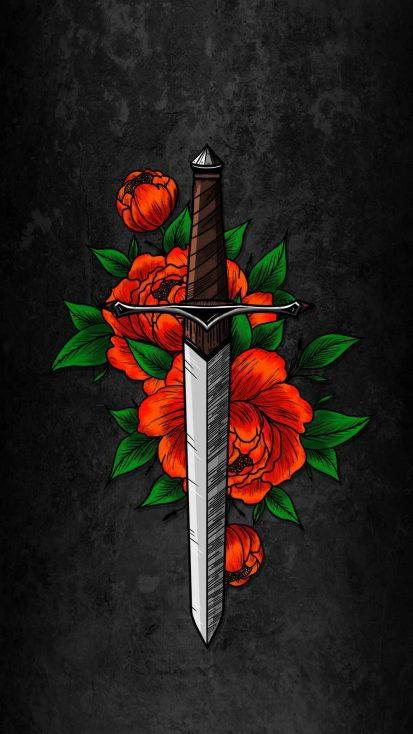 Sword and Flowers iPhone Wallpaper