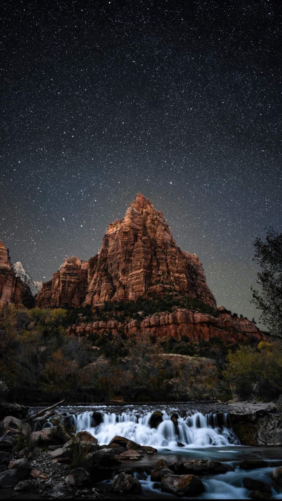 Waterfall Mountain Night Sky