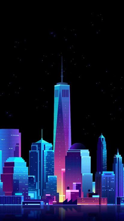Amoled City iPhone Wallpaper