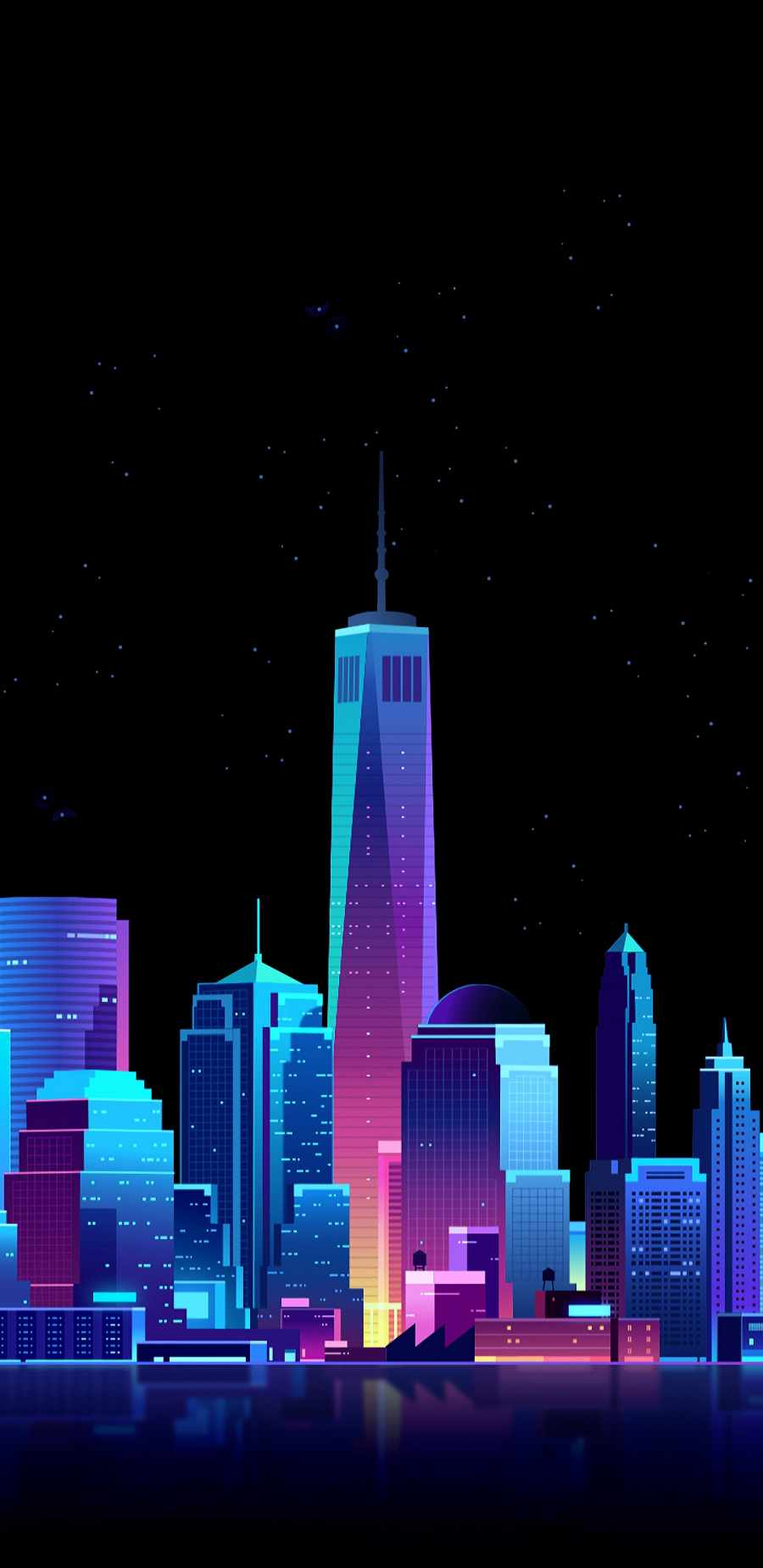 Amoled City iPhone Wallpaper