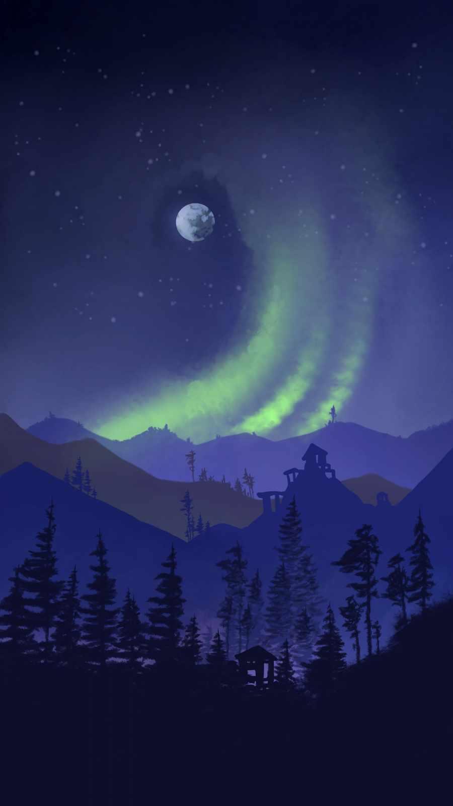 Aurora Night Moon Art