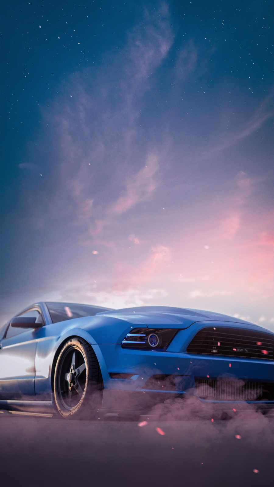 Blue Mustang iPhone Wallpaper