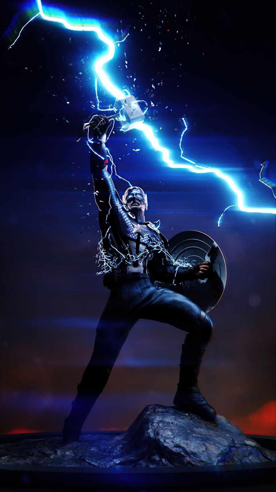 Captain America Wield Thor iPhone Wallpaper