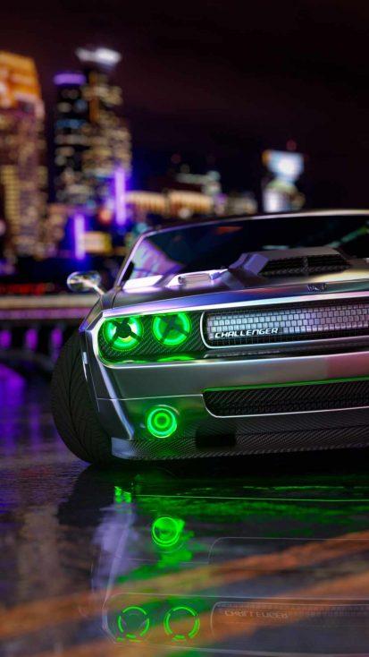 Dodge Challenger Green Lights
