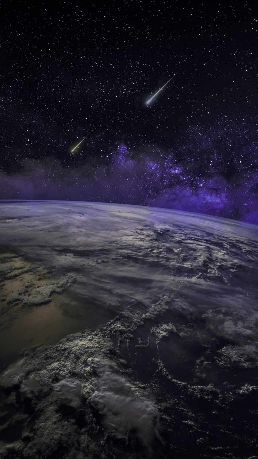 Earth From Space Meteor Falling