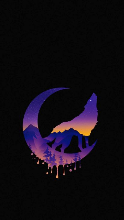 Eclipse Moon Wolf iPhone Wallpaper