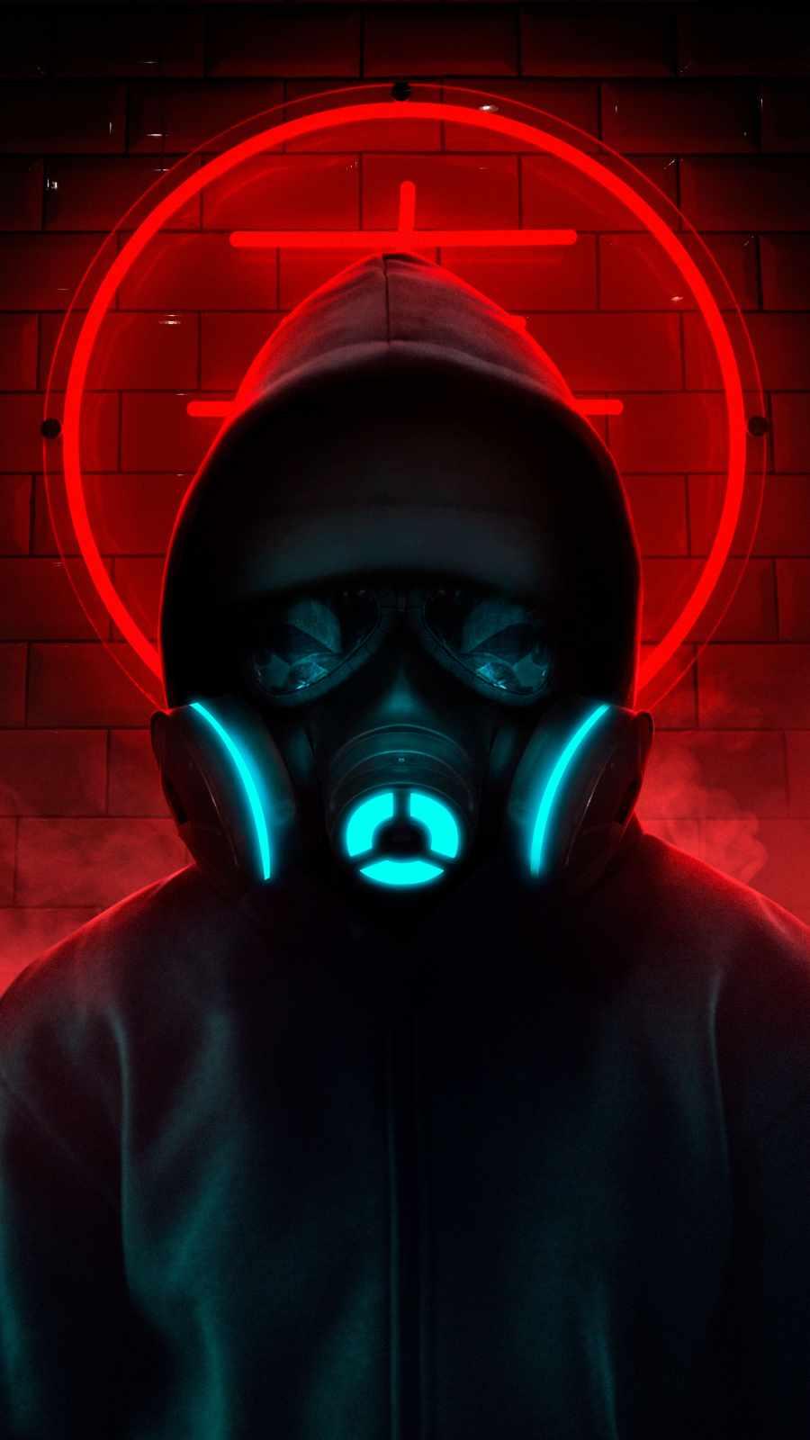 Gas Mask Neon Hoodie Guy