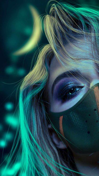 Mask Girl Eyes iPhone Wallpaper