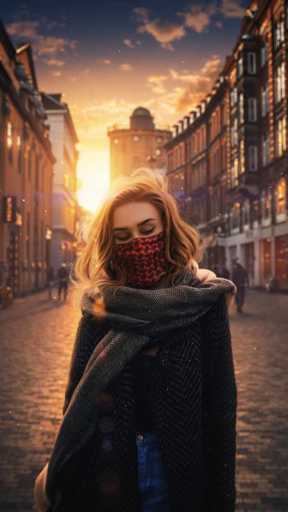 Masked Girl Travel iPhone Wallpaper