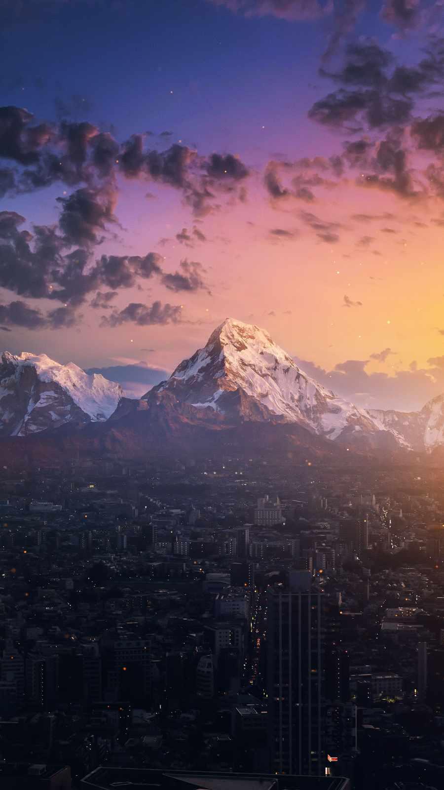 Mountain City iPhone Wallpaper