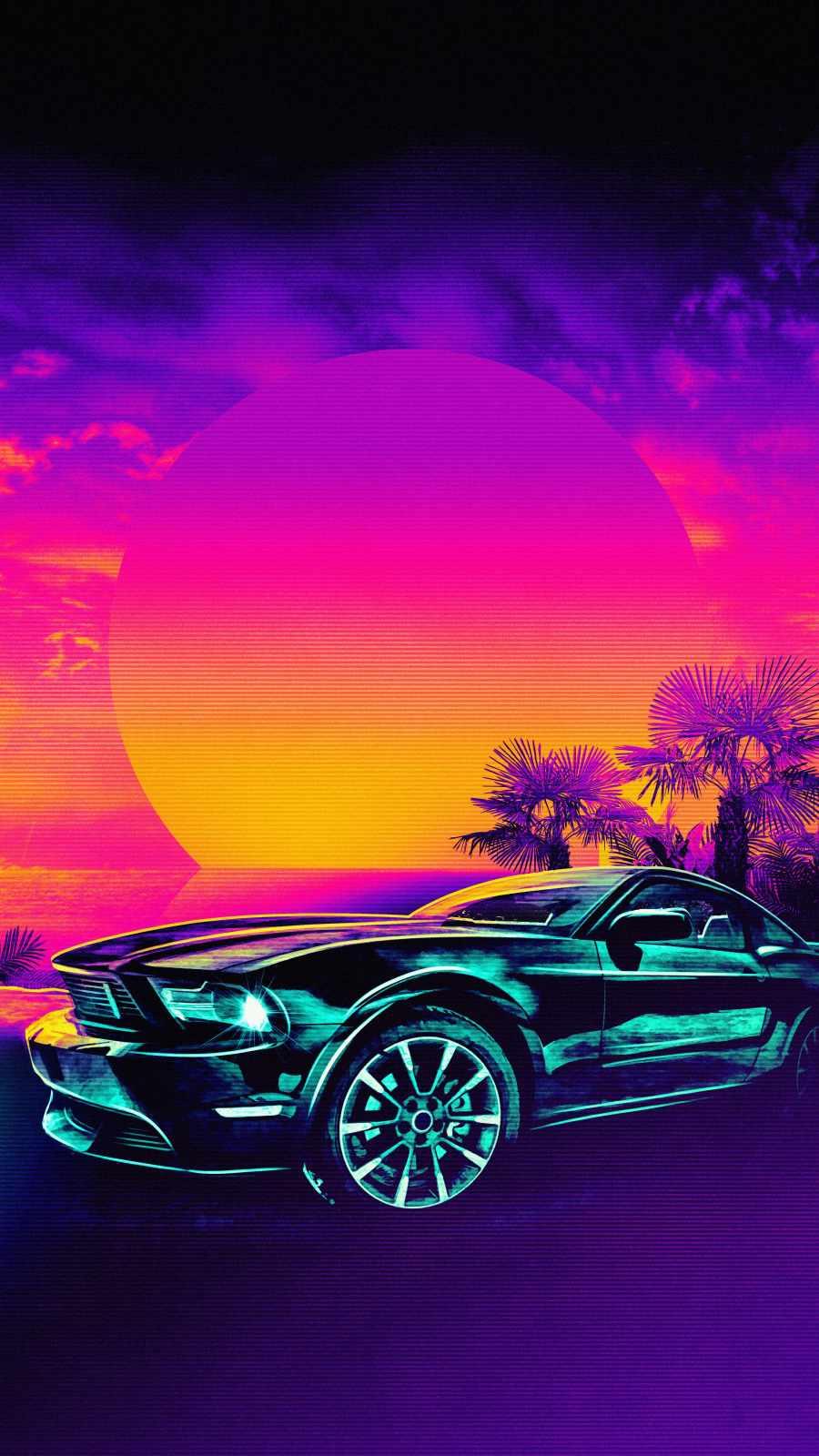 Mustang Retro iPhone Wallpaper