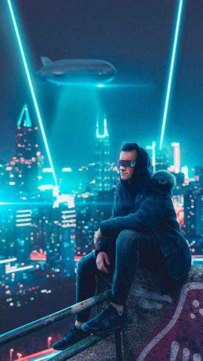 Neon City Hoodie Guy