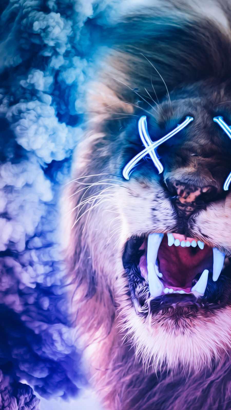 Neon Lion iPhone Wallpaper